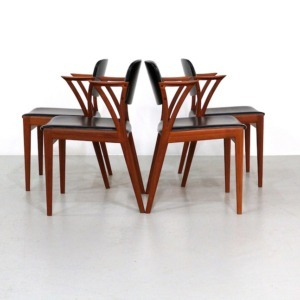 Vintage Teak Dining Chairs Design Kai Kristiansen for Bovenkamp, set of 4