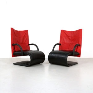 Pair 1980s Ligne Roset Leather Zen Chairs by Claude Brisson