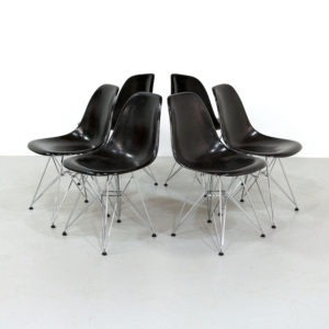 Black Fiberglass Dining Chairs by Charles & Ray Eames for Vitra