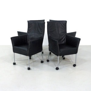 Vintage Black Leather Montis Chaplin Chair by Gerard van den Berg