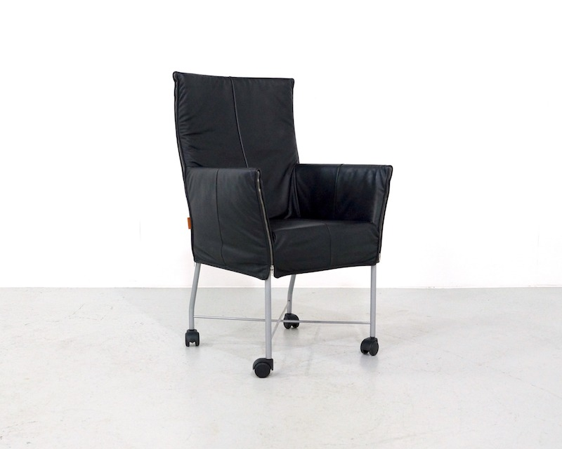 Vintage Black Leather Montis Chaplin Chair by Gerard van den Berg