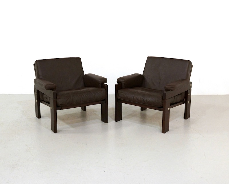 Vintage Armchairs in Wengé and Leather
