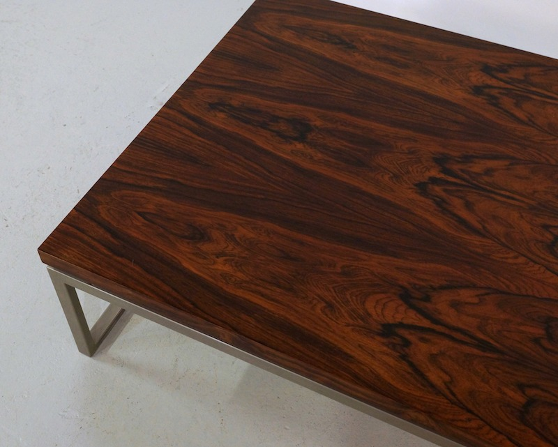 Vintage Square Rosewood Coffee Table on a Metal Base