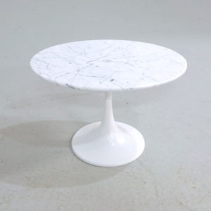 Oval Tulip Side Table by Maurice Burke for Arkana with a Carrara Marble top
