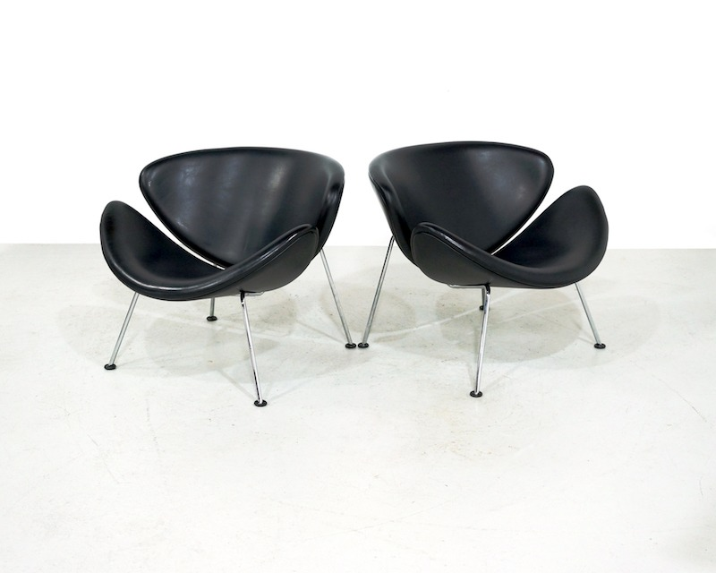 Vintage Artifort Orange Slice Chair in Black Leather