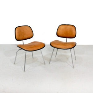 Eames DCM chairs in leather - Herman Miller Edition