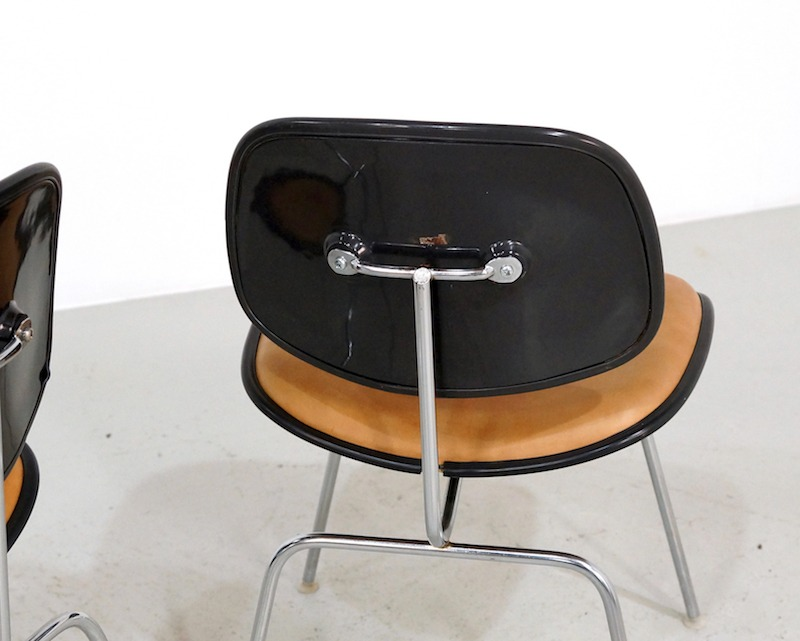 Mid-century Eames DCM chairs in leather - Herman Miller Edition