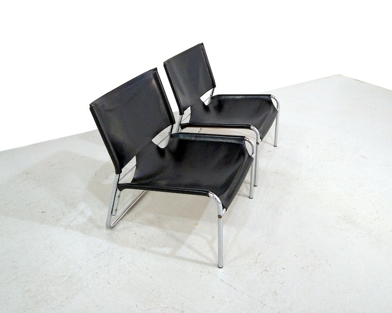 Black leather and chrome vintage lounge chairs